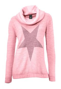 Rollkragenpullover m. Strass, rosé von H**** - Best Connections