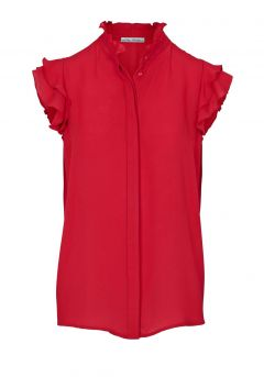 Bluse m. Volants, rot von Ashley Brooke