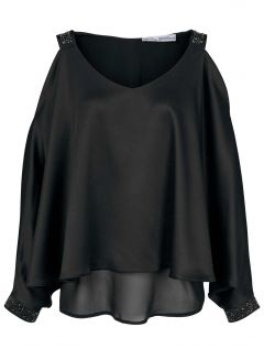 Satinbluse m. Cut-Outs, schwarz von Ashley Brooke